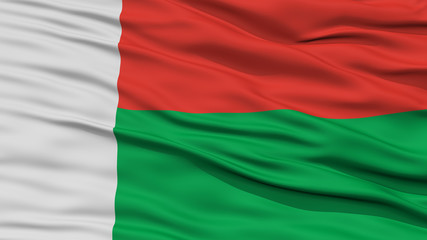 Closeup Madagascar Flag, Waving in the Wind, High Resolution