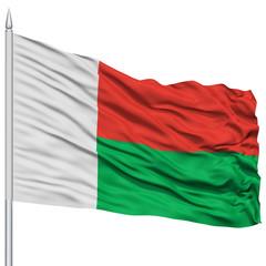 Madagascar Flag on Flagpole , Flying in the Wind, Isolated on White Background