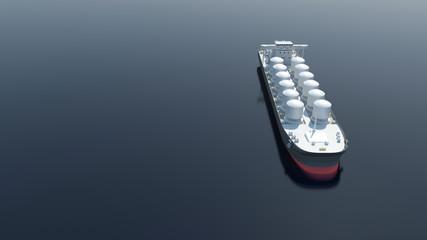 Aerial View of Oil Tanker Ship Sailing Across the Ocean. 3D Rendering