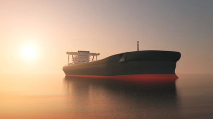 View of Tanker Ship Sailing Across the Ocean at Sunset. 3D Rendering