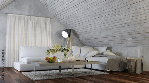 Charmant Interior Design Mit Sofa Im Dachgeschoss Wohnzimmer
