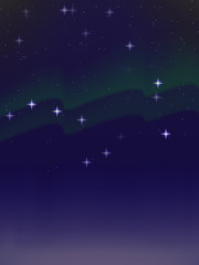 vector background of Northern lights in the night star sky