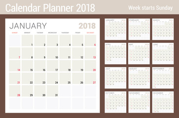 Calendar planner design template for 2018 year. Week starts on Sunday. Stationery design. Set of 12 months