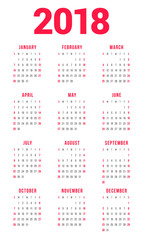 Calendar for 2018 Year on White Background. Week Starts on Sunday. 3 columns, 4 rows. Simple Vector Template. Stationery Design