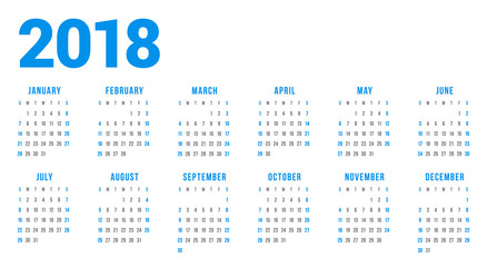 Calendar for 2018 Year on White Background. Week Starts on Sunday. 6 columns, 2 rows. Simple Vector Template. Stationery Design