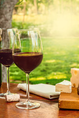 Two glasses of red wine at picnic with copyspace