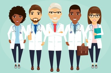 A team of doctors lined up behind the leader. Health, medicine. Different. In flat style on white background. Cartoon.