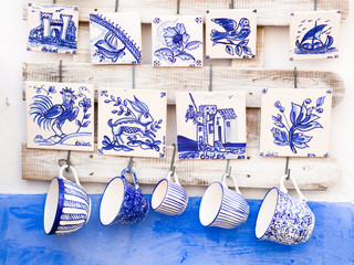 Traditional Portuguese pottery sold as souvenirs in Obidos