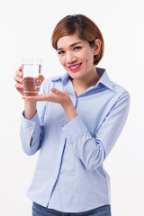healthy asian woman holding glass of fresh water