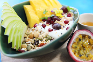 cereal and yogurt with fruits