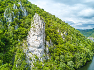 Decebal's Head carved in rock, Danube Gorges, Iron Gates, Romania