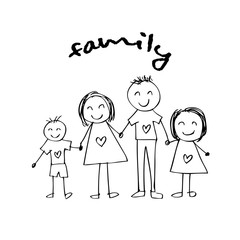 Happy family holding hands and smiling. Hand drawing illustration.