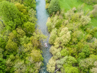 Rafting aerial view from a drone in Nera's Gorges, Romania (Cheile Nerei)