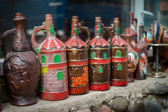 Georgian national style bottles for vine, saturated vivid image