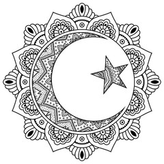 A circular pattern in the form of a mandala.Religious Islamic symbol of the Star and the Crescent. Decorative sign for making and tattoos. Eastern Muslim symbol. Mehndi style.
