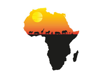 Africa sunset vector illustration with silhouette of wild animals