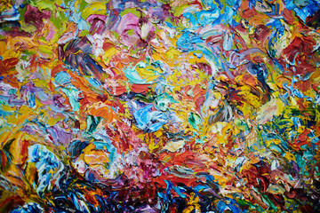Creative background made up of multi-color gouache or acrylic paints blobs