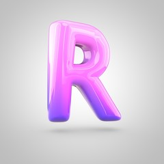 Glossy pink and violet gradient paint alphabet letter R uppercase isolated on white background