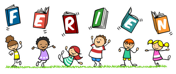 Kinder freuen sich über Ferien nach der Schule - Buy this stock ...