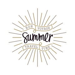 Vintage hand lettering label. Creative slogan. Trendy linear sunbeams. Summer. Bon Voyage, Travel Time.  Vector thin line design elements.