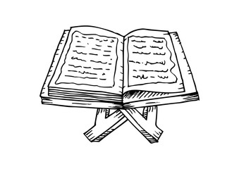 .Quran on a wooden book stand. Hand drawing illustration