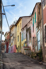 Colorful living houses. Street view of old Izmir