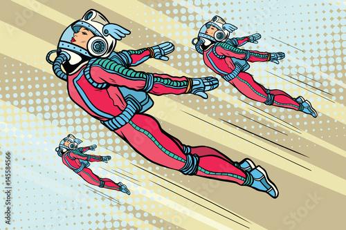 girl superhero flying in a futuristic space suit stockfotos und lizenzfreie vektoren auf. Black Bedroom Furniture Sets. Home Design Ideas