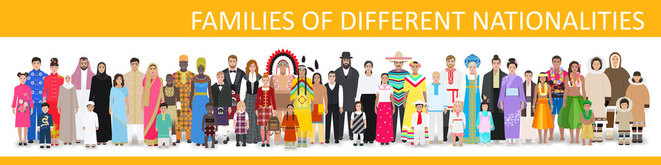 Families of different nationalities, vector illustration
