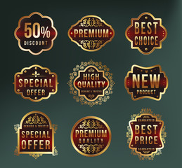 Set of High Quality Luxury Labels on Dark Background . Vector Isolated Illustration