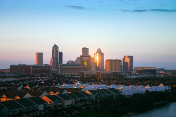 Foto op Canvas Las Vegas Tampa city skyline, panoramic view at sunset