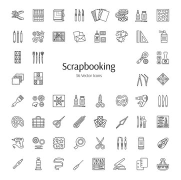 Scrapbooking vector line icons. Tools and accessories for scrap decorations of albums, books and cards. Handmade hobby