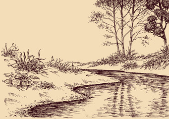 Landscape drawing. River flow and vegetation