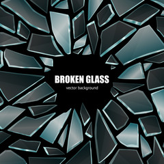Broken Black Glass Background Poster