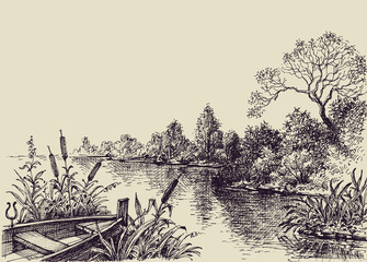 River flow scene. Hand drawn landscape, boat on shore