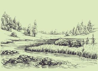 River flow, nature landscape