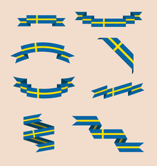Vector set of scrolled isolated ribbons or banners in colors and with symbol of Swedish flag.