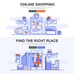 Flat design concept banner - Online Shopping and Find the Right Place