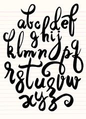 Vector handwritten brush script. letters isolated on background.doodle font