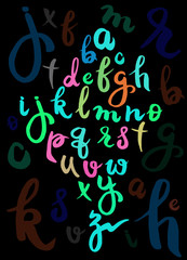 Vector handwritten brush script. letters isolated on background.