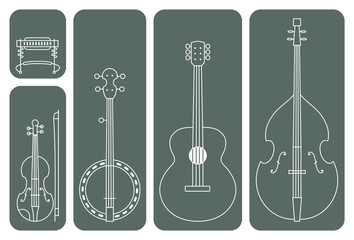Country Music Instruments. Line Drawing Vector Illustration of Music Instruments of a regular Country Music Band.