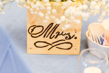 Close up of new  bride's place setting at a wedding reception