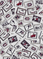 Stamps choreography dance vintage set of background