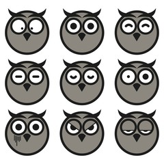 Flat Owl Expression Smiley Icon Set. Isolated on White Background.