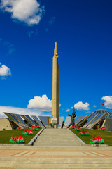 Wall Murals Museum of the Great Patriotic War in Minsk - the capital of Belarus. Sunny spring day.