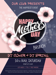 vector hand drawn mothers day event poster with blooming anemone flowers hand lettering text - mothers day and luminosity flares