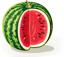 Cut watermelon on a white background.
