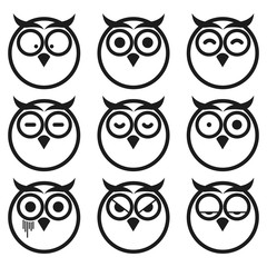 Owl Expression Smiley Icon Set. Isolated on White Background.