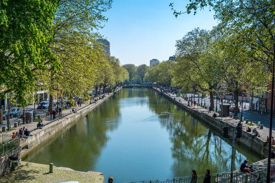 PARIS, FRANCE - APRIL 7, 2017 - St Martin's canal in Paris X district