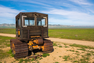 Old farming machinery in Carrizo Plain National Monument, San Andreas Fault (boundary between the Pacific Plate and the North American Plate), California USA, North America