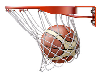 Basketball going into the basket hoop